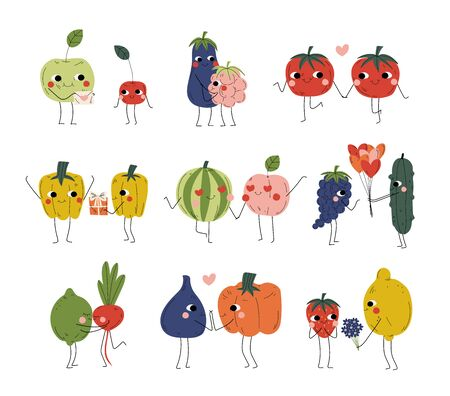 Collection of Cute Cheerful Vegetables, Fruits and Berries Characters Holding Hands, Hugging and Giving Gifts, Best Friends, Happy Couples in Love Vector Illustration