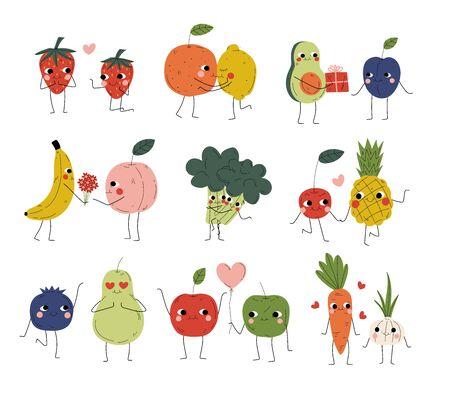 Colección de lindos personajes alegres de verduras, frutas y bayas cogidos de la mano, abrazos, besos y regalos, mejores amigos, parejas felices enamoradas ilustración vectorial