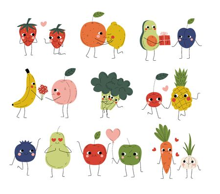 Collection of Cute Cheerful Vegetables, Fruits and Berries Characters Holding Hands, Hugging, Kissing and Giving Gifts, Best Friends, Happy Couples in Love Vector Illustration Vectores