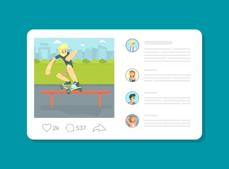 Social Media Profile Page with Teenage Boy Riding Skateboard Vector Illustration