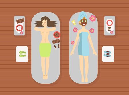 Young Women Enjoying Beauty Treatments at Spa Center, Girls Relaxing with Facial and Skincare Procedures Vector Illustration