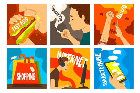 Bad habits and addictions of modern society set, cigarette, drug, alcohol, fast food, gadgets, shopping addiction vector Illustrations 向量圖像