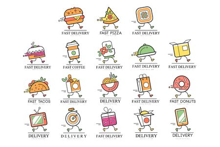 Fast delivery design, creative template for corporate identity, restaurant, cafe, label for online shopping vector Illustration on a white background Illustration
