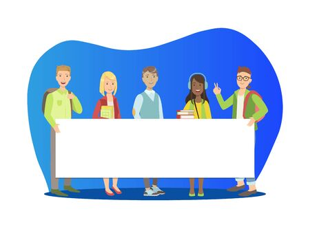 Group of Young People Standing Together and Holding Blank Banner Vector Illustration