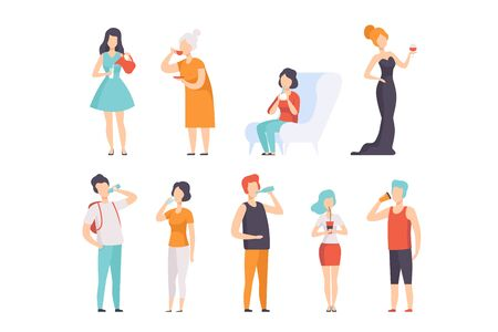 Conjunto de personas bebiendo bebidas, hombres y mujeres bebiendo té, café, agua, vino, vector de leche ilustraciones sobre un fondo blanco Ilustración de vector