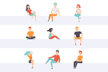 Diverse people sitting on different positions set, young faceless guys and girls in casual clothes sitting down vector Illustrations isolated on a white background. Иллюстрация