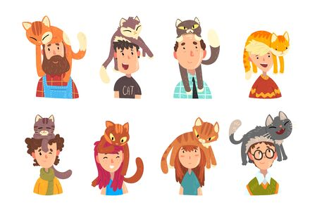 People with funny cats sitting on their heads set, adorable pets and its owners vector Illustrations on a white background