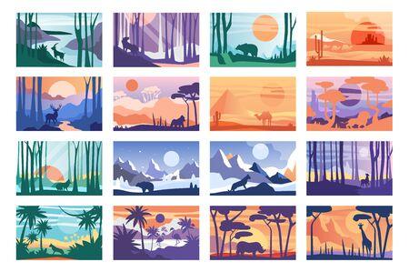 Sammlung der schönen Szene der Natur, friedliche Landschaft mit wilden Tieren in verschiedenen Tageszeiten, Vorlagen für Banner, Poster, Magazin, Cover horizontale Vektor-Illustration Vektorgrafik