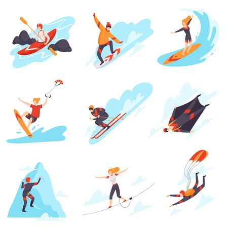 People performing different types of extreme sports vector illustration .