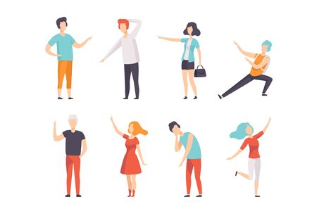 People pointing their finger in different directions set, faceless men and women characters gesturing vector Illustrations on a white background