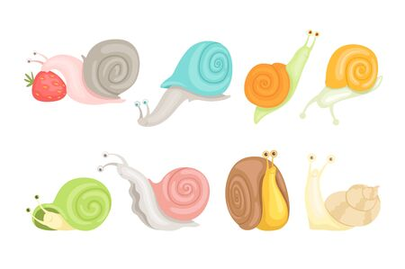 Cheerful little garden snails set, cute clams with colorful shells vector Illustrations on a white background Illustration