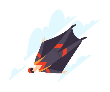 Wingsuit flying illustration isolated on white background. Çizim