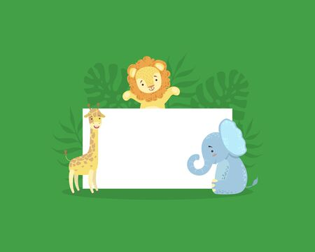 Cute African Animals Holding Empty Banner, Adoraable Lion, Giraffe, Elephant with Blank Sign Board Vector Illustration, Web Design. Foto de archivo - 130496310