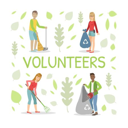 Volunteers Gathering Garbage and Plastic Waste for Recycling, People Sweeping and Cleaning Outdoors Vector Illustration