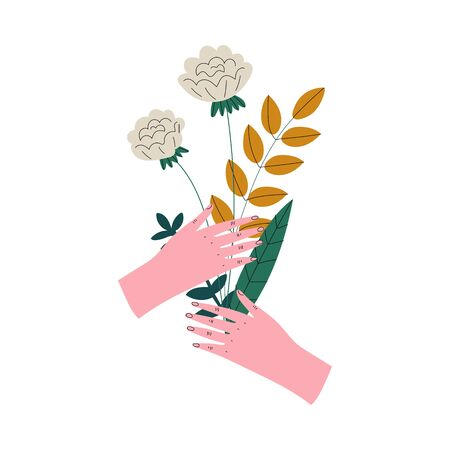 Female Hands Holding Bouquet of Wild Blooming Flowers, Elegant Decorative Floral Design Element Vector Illustration Иллюстрация