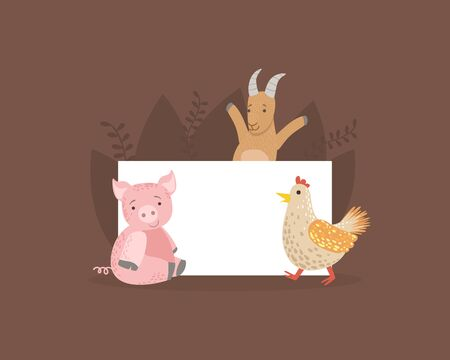 Cute Farm Animals Holding Empty Banner, Funny Goat, Hen, Piglet with Blank Sign Board Vector Illustration, Web Design.