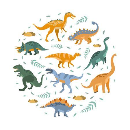 Cute Dinosaurs Pattern of Round Shape, Prehistoric Animals Design Element Vector Illustration