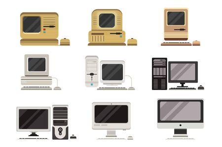 Conjunto de computadoras, evolución de PC de obsoleto a moderno ilustraciones vectoriales sobre un fondo blanco.