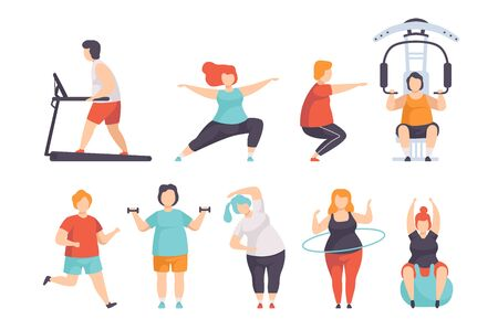 Obesity people wearing sports uniform doing fitness exercises set, fat men and women doing sports, weight loss program concept vector Illustration on a white background