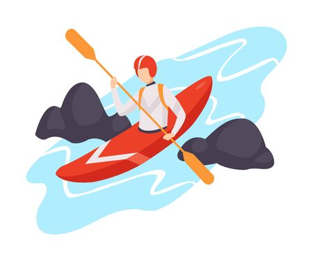 Vector illustration of a character in canoe isolated on a white background.