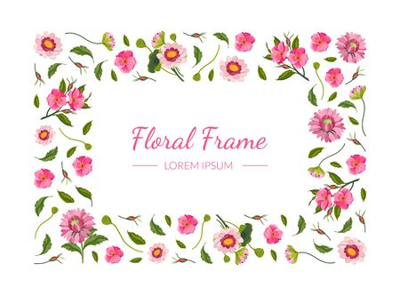 Floral Rectangular Frame with Beautiful Pink Flowers, Design Element Can Be Used for Invitation, Poster, Banner, Greeting Card Vector Illustration Иллюстрация