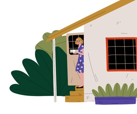Woman with Plates Standing on the Porch of the House, BBQ Party Outdoors Vector Illustration