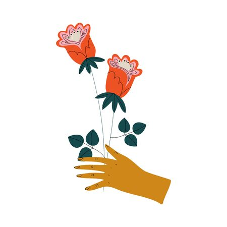 Female Hand Holding Bunch of Wild Red Flowers, Elegant Decorative Floral Design Element Vector Illustration Иллюстрация