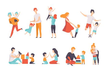 Parents and their kids having good time together set, Mom and Dad playing, doing sports, having fun with their children vector Illustrations isolated on a white background. Ilustração