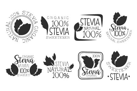 Stevia organic product set, natural sweetener black and white badge, label, sticker vector Illustrations on a white background Illusztráció