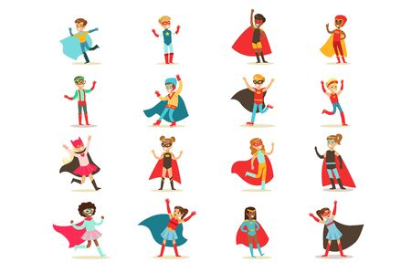 Boys in superhero costume set, cute little super kids vector Illustrations on a white background