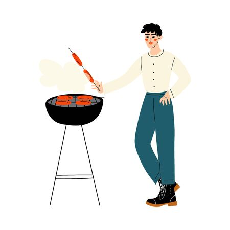 Young Man Grilling Sausages on Barbecue Grill Vector Illustration
