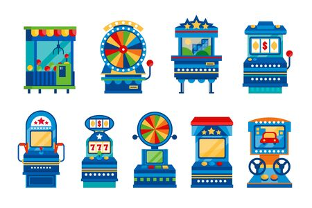 Arcade game machines set, retro casino slot gaming computer machinery vector Illustrations on a white background
