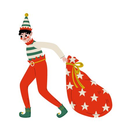 Christmas Elf Character Pulling Bag Full of Gifts, Cute Boy Santa Claus Helper Vector Illustration