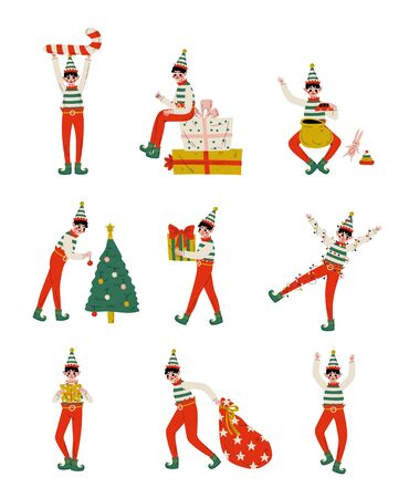 Christmas Elf Characters Set, Cute Boys Santa Claus Helpers with Gift Boxes Vector Illustration