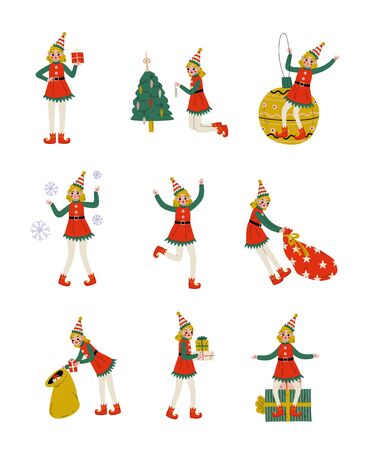 Christmas Elf Characters Set, Cute Girls Santa Claus Helpers with Gift Boxes Vector Illustration