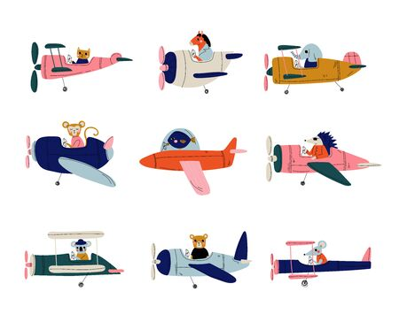Collection of Cute Animals Pilots Flying on Retro Planes in the Sky, Elephant, Cat, Fish, Horse, Hedgehog, Coala, Mouse, Bear, Humanized Animals Characters Piloting Airplane Vector Illustration on White Background. Vettoriali