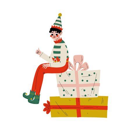 Christmas Elf Character Sitting on Gift Boxes, Cute Boy Santa Claus Helper Vector Illustration Illustration