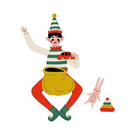 Christmas Elf Character Folding Present Boxes in Gift Bag, Cute Boy Santa Claus Helper Vector Illustration