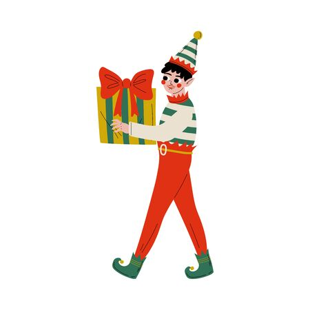 Christmas Elf Character Carrying Gift Box, Cute Boy Santa Claus Helper Vector Illustration