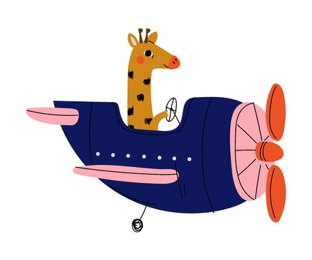 Giraffe Pilot Flying on Retro Plane in the Sky, Cute Animal Character Piloting Airplane Vector Illustration Foto de archivo - 130643185