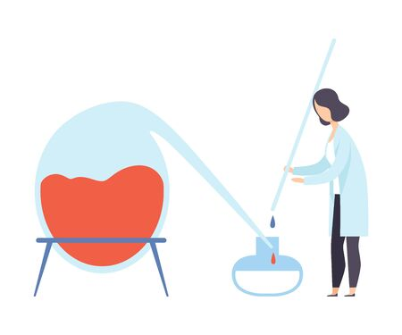 Female scientist conducting an experiment with liquids. Vector illustration. Illustration