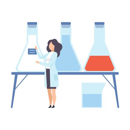 Female scientist glues a blue label on the flask. Vector illustration.