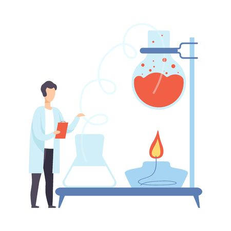 Male scientist is conducting an experiment with hot liquid. Vector illustration. Ilustração