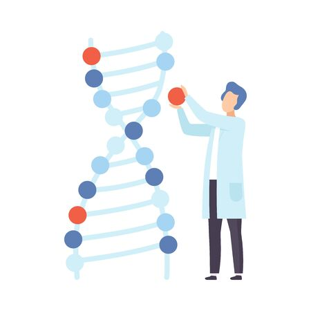 Male scientist next to a chromosome model. Vector illustration.