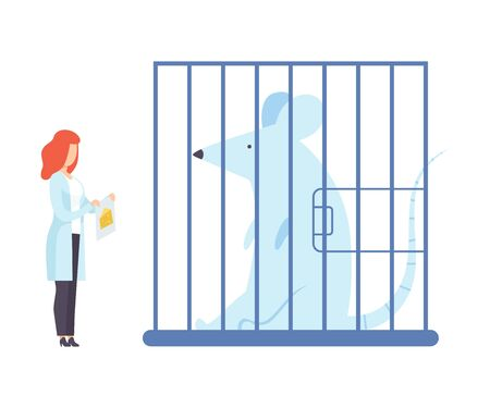 Female scientist next to a huge laboratory mouse. Vector illustration.