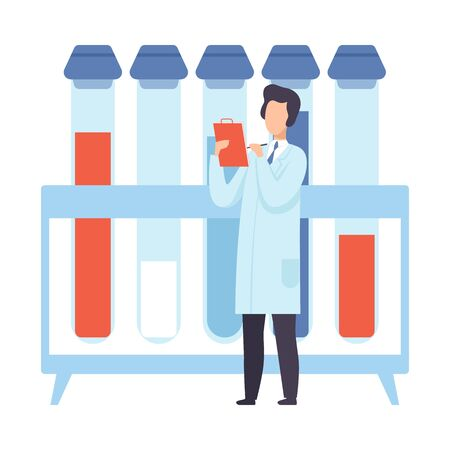 Scientist next to giant test tubes. Vector illustration.
