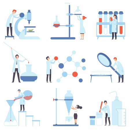 Set of images of laboratory devices. Vector illustration. Фото со стока - 130643197