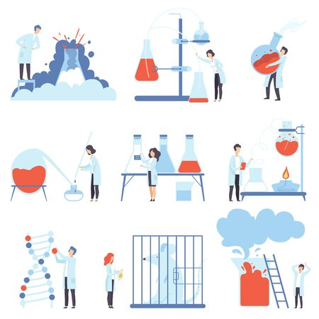 Set of images of laboratory devices and scientists. Vector illustration. Çizim