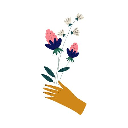 Female Hand Holding Bunch of Beautiful Blooming Flowers, Elegant Decorative Floral Design Element Vector Illustration on White Background. Иллюстрация