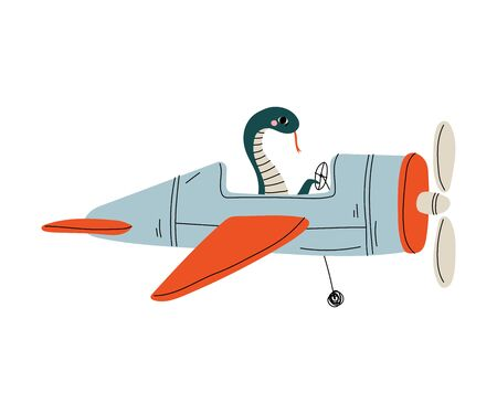 Snake Pilot Flying on Retro Plane in the Sky, Cute Reptile Animal Character Piloting Airplane Vector Illustration